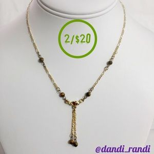 Dainty Beaded Dangle Statement Necklace Gold Tone